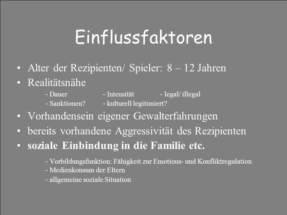 Einflussfaktoren Alter der Rezipienten/ Spieler: 8 – 12 Jahren Realitätsnähe - Dauer- Intensität- legal/ illegal - Sanktionen?- kulturell legitimiert.