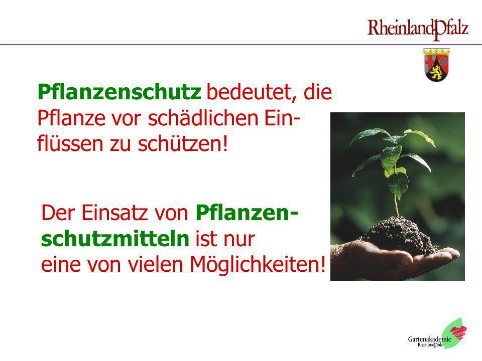 Pflanzenschutz bedeutet, die Pflanze vor schädlichen Ein- flüssen zu schützen! Der Einsatz von Pflanzen- schutzmitteln ist nur eine von vielen Möglich