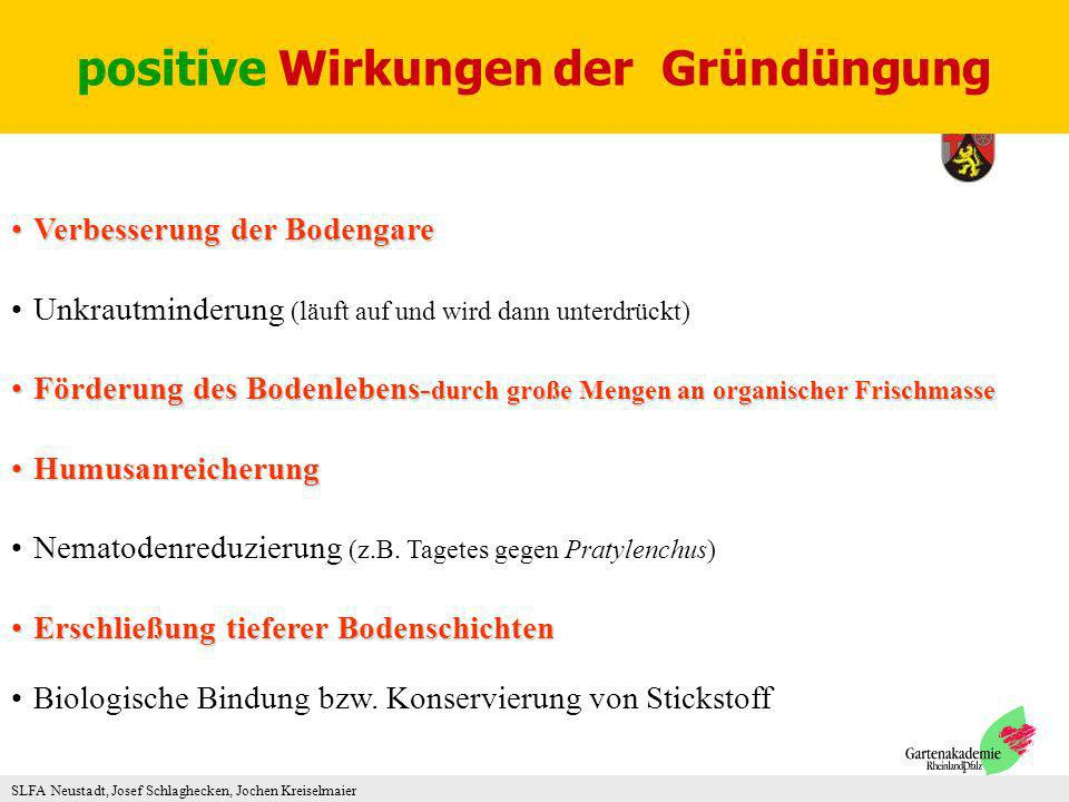 SLFA Neustadt, Josef Schlaghecken, Jochen Kreiselmaier Verbesserung der BodengareVerbesserung der Bodengare Unkrautminderung (läuft auf und wird dann