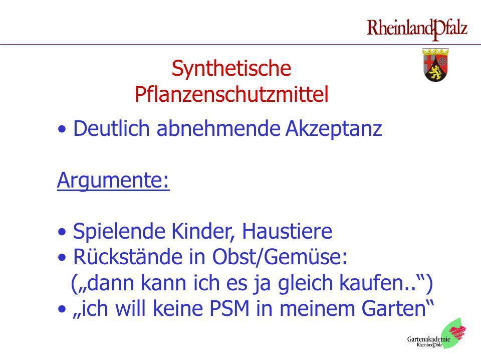 Synthetische Pflanzenschutzmittel Deutlich abnehmende Akzeptanz Argumente: Spielende Kinder, Haustiere Rückstände in Obst/Gemüse: (dann kann ich es ja
