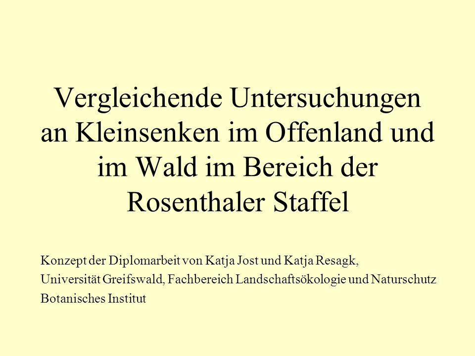 Vergleichende Untersuchungen an Kleinsenken im Offenland und im Wald im Bereich der Rosenthaler Staffel Konzept der Diplomarbeit von Katja Jost und Ka