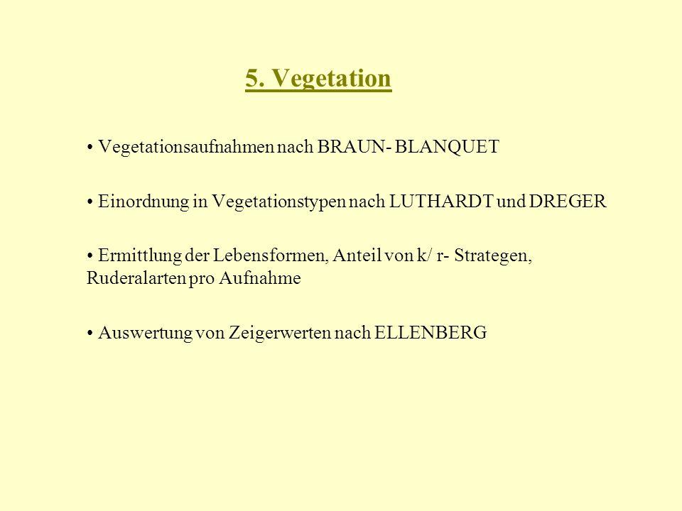 5. Vegetation Vegetationsaufnahmen nach BRAUN- BLANQUET Einordnung in Vegetationstypen nach LUTHARDT und DREGER Ermittlung der Lebensformen, Anteil vo