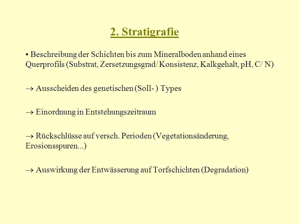2. Stratigrafie Beschreibung der Schichten bis zum Mineralboden anhand eines Querprofils (Substrat, Zersetzungsgrad/ Konsistenz, Kalkgehalt, pH, C/ N)
