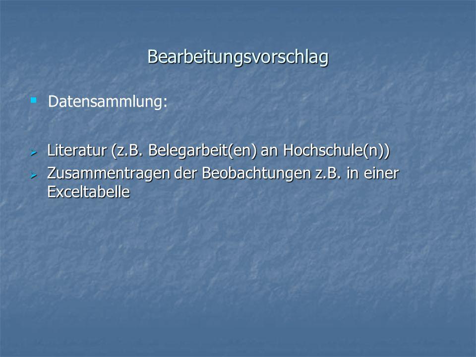 Bearbeitungsvorschlag Literatur (z.B. Belegarbeit(en) an Hochschule(n)) Literatur (z.B. Belegarbeit(en) an Hochschule(n)) Zusammentragen der Beobachtu
