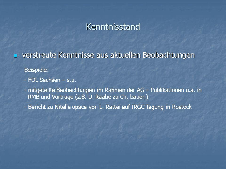Kenntnisstand verstreute Kenntnisse aus aktuellen Beobachtungen verstreute Kenntnisse aus aktuellen Beobachtungen Beispiele: - FOL Sachsen – s.u. - mi