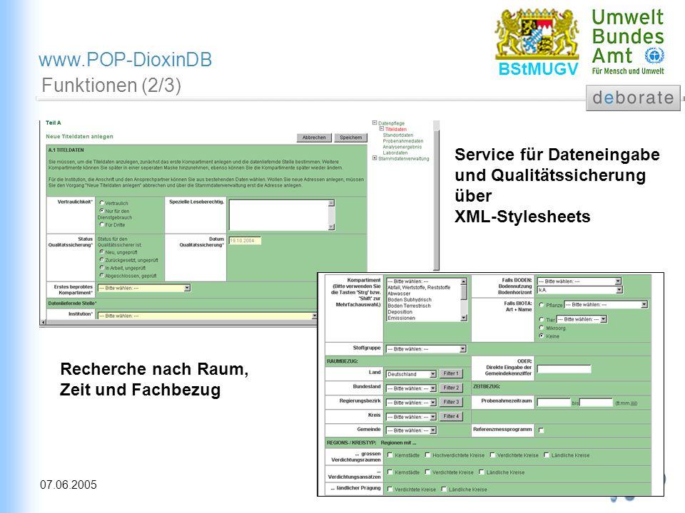 12 07.06.2005 www.POP-DioxinDB BStMUGV Funktionen (2/3) Service für Dateneingabe und Qualitätssicherung über XML-Stylesheets Recherche nach Raum, Zeit