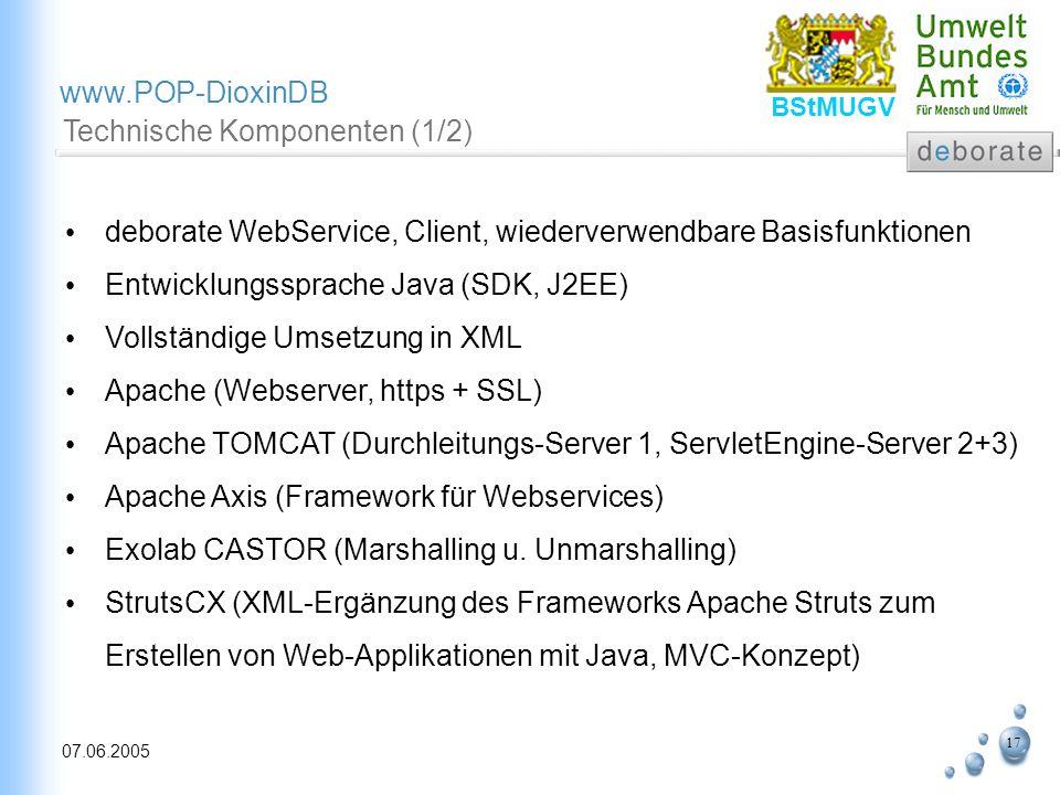 17 07.06.2005 www.POP-DioxinDB BStMUGV Technische Komponenten (1/2) deborate WebService, Client, wiederverwendbare Basisfunktionen Entwicklungssprache