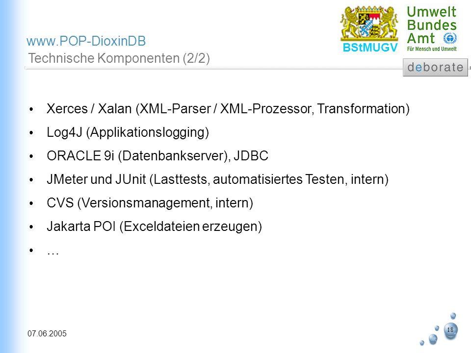 18 07.06.2005 www.POP-DioxinDB BStMUGV Technische Komponenten (2/2) Xerces / Xalan (XML-Parser / XML-Prozessor, Transformation) Log4J (Applikationslog