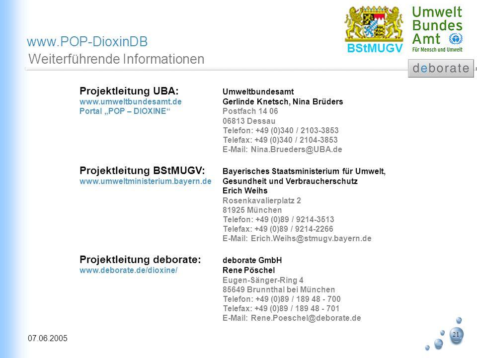 21 07.06.2005 www.POP-DioxinDB BStMUGV Weiterführende Informationen Projektleitung UBA: Umweltbundesamt www.umweltbundesamt.de Gerlinde Knetsch, Nina