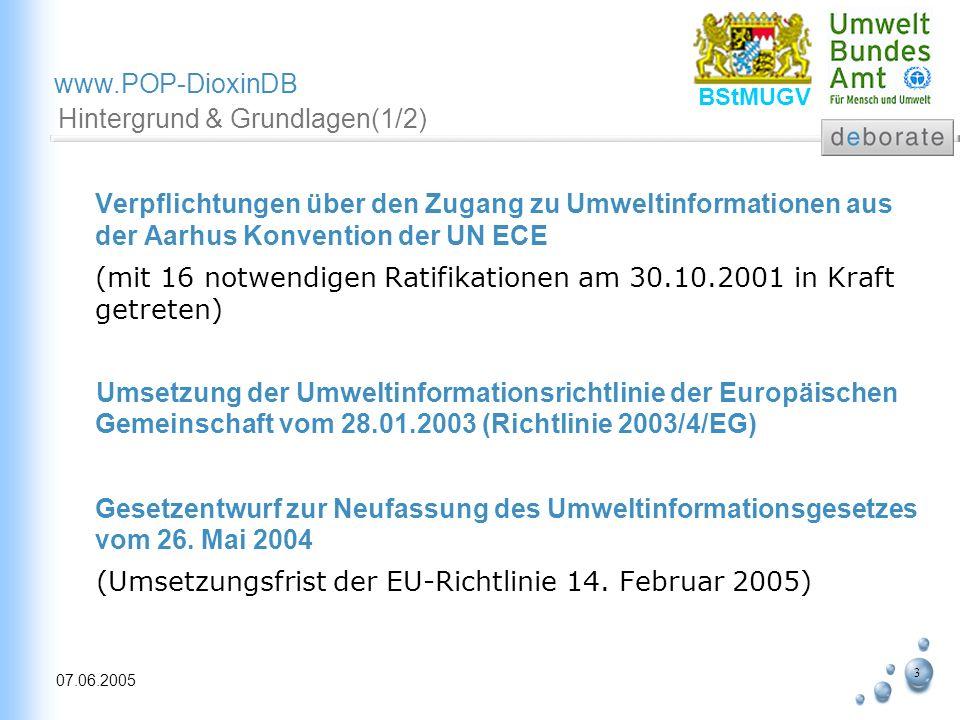 4 07.06.2005 www.POP-DioxinDB BStMUGV Grundlagen (2/2) Umweltinformationsgesetz Erweiterter Begriff der Umweltinformation Aktuelle, exakte und vergleichbare Informationen Nutzung des Internets als modernes, schnelles und demokratisches Medium Entwicklung von Web-Services für Bereitstellung von Umweltdaten und Informationen