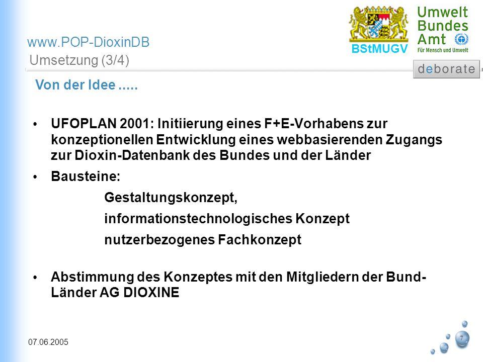 7 07.06.2005 www.POP-DioxinDB BStMUGV Umsetzung (3/4) UFOPLAN 2001: Initiierung eines F+E-Vorhabens zur konzeptionellen Entwicklung eines webbasierend