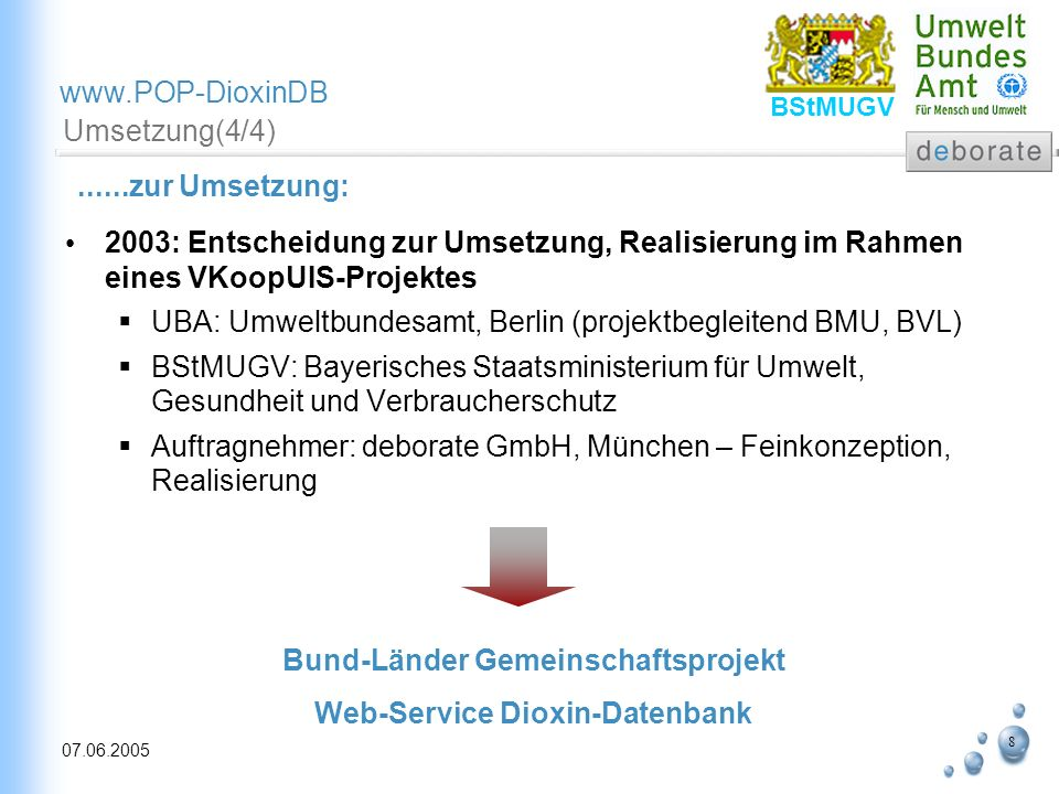 9 07.06.2005 www.POP-DioxinDB BStMUGV Projektziele (1/2) Nutzergruppen – spezifischer Zugriff unter Anwendung von XML-Technologien : Interessierte Öffentlichkeit auf ausgewählte bewertete Daten Datenlieferanten (Bund, Länder, Instituionen) mit direktem Zugriff auf gelieferte Daten Fachnutzer (poweruser) mit direktem Zugriff auf aggregierte Daten Besondere Charakteristika sind hierbei: … >>> …