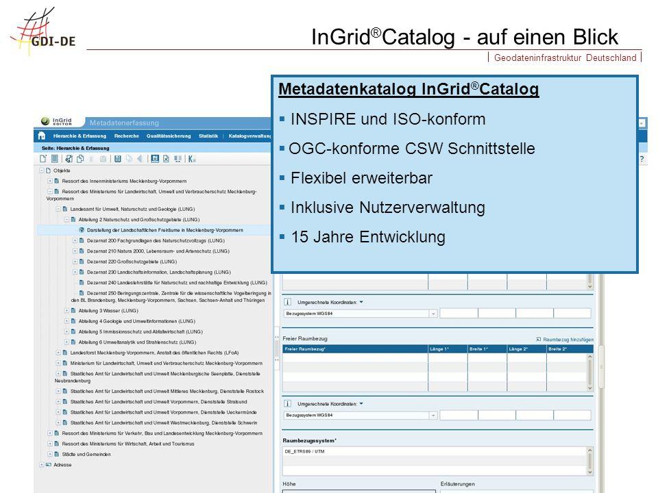 Geodateninfrastruktur Deutschland InGrid ® Catalog - auf einen Blick Metadatenkatalog InGrid ® Catalog INSPIRE und ISO-konform OGC-konforme CSW Schnit