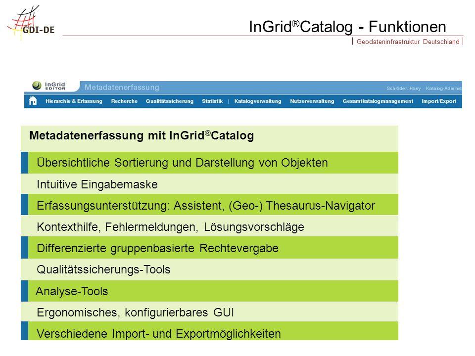 Geodateninfrastruktur Deutschland Übersichtliche Sortierung und Darstellung von Objekten Intuitive Eingabemaske Erfassungsunterstützung: Assistent, (G