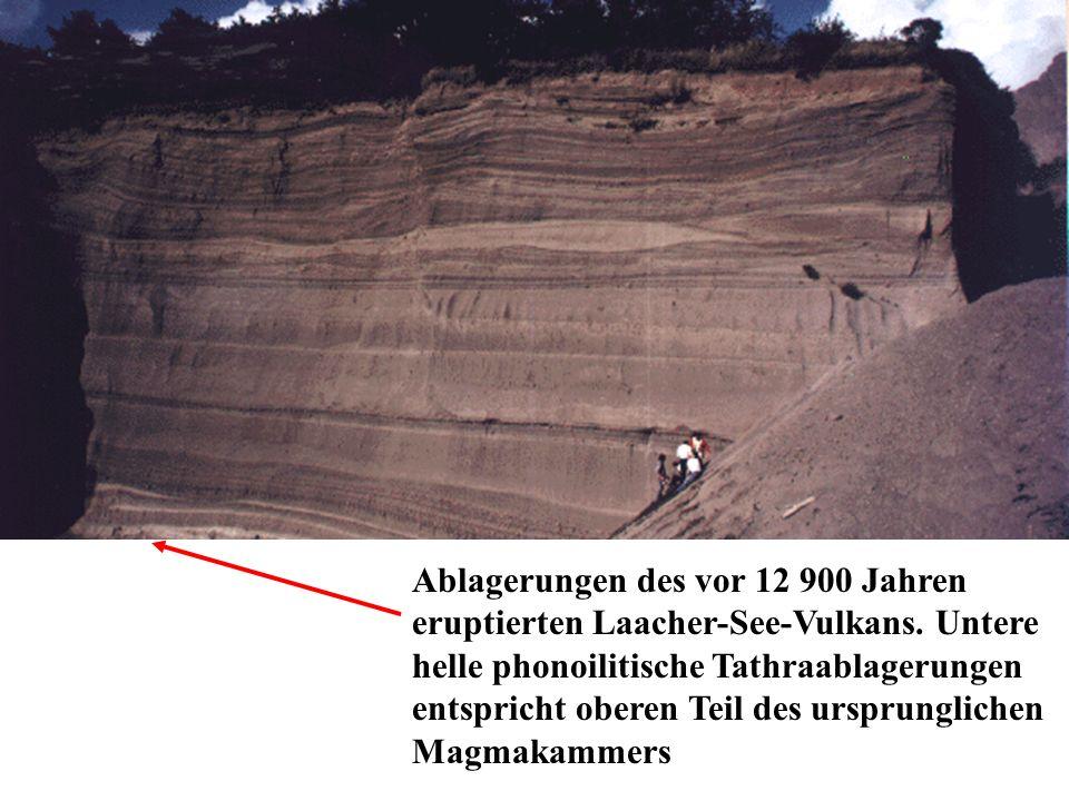 Ablagerungen des vor 12 900 Jahren eruptierten Laacher-See-Vulkans. Untere helle phonoilitische Tathraablagerungen entspricht oberen Teil des ursprung