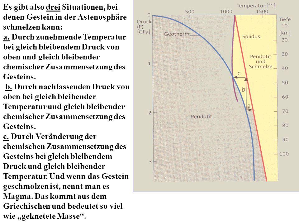 Es gibt also drei Situationen, bei denen Gestein in der Astenosphäre schmelzen kann: a. Durch zunehmende Temperatur bei gleich bleibendem Druck von ob