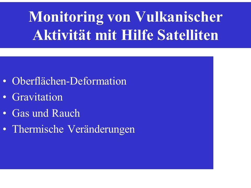 Monitoring von Vulkanischer Aktivität mit Hilfe Satelliten Oberflächen-Deformation Gravitation Gas und Rauch Thermische Veränderungen