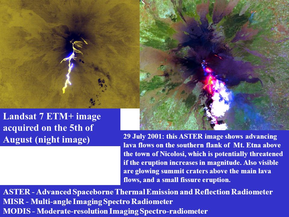 ASTER - Advanced Spaceborne Thermal Emission and Reflection Radiometer MISR - Multi-angle Imaging Spectro Radiometer MODIS - Moderate-resolution Imagi