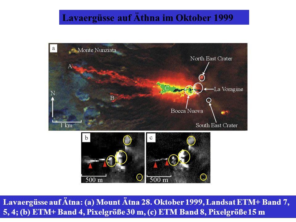 Lavaergüsse auf Äthna im Oktober 1999 Lavaergüsse auf Ätna: (a) Mount Ätna 28. Oktober 1999, Landsat ETM+ Band 7, 5, 4; (b) ETM+ Band 4, Pixelgröße 30