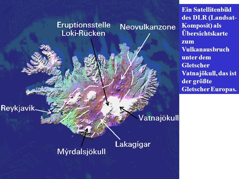 Ein Satellitenbild des DLR (Landsat- Komposit) als Übersichtskarte zum Vulkanausbruch unter dem Gletscher Vatnajökull, das ist der größte Gletscher Eu