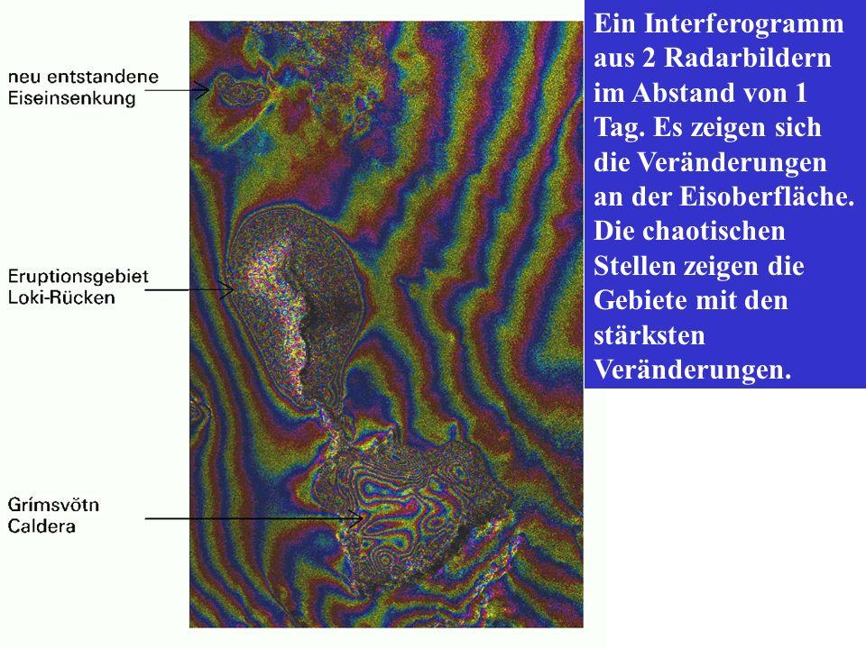 Ein Interferogramm aus 2 Radarbildern im Abstand von 1 Tag. Es zeigen sich die Veränderungen an der Eisoberfläche. Die chaotischen Stellen zeigen die