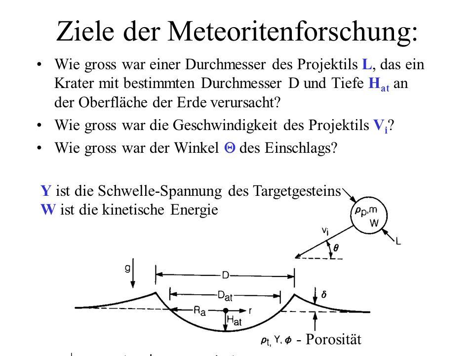 Ziele der Meteoritenforschung: Wie gross war einer Durchmesser des Projektils L, das ein Krater mit bestimmten Durchmesser D und Tiefe H at an der Obe