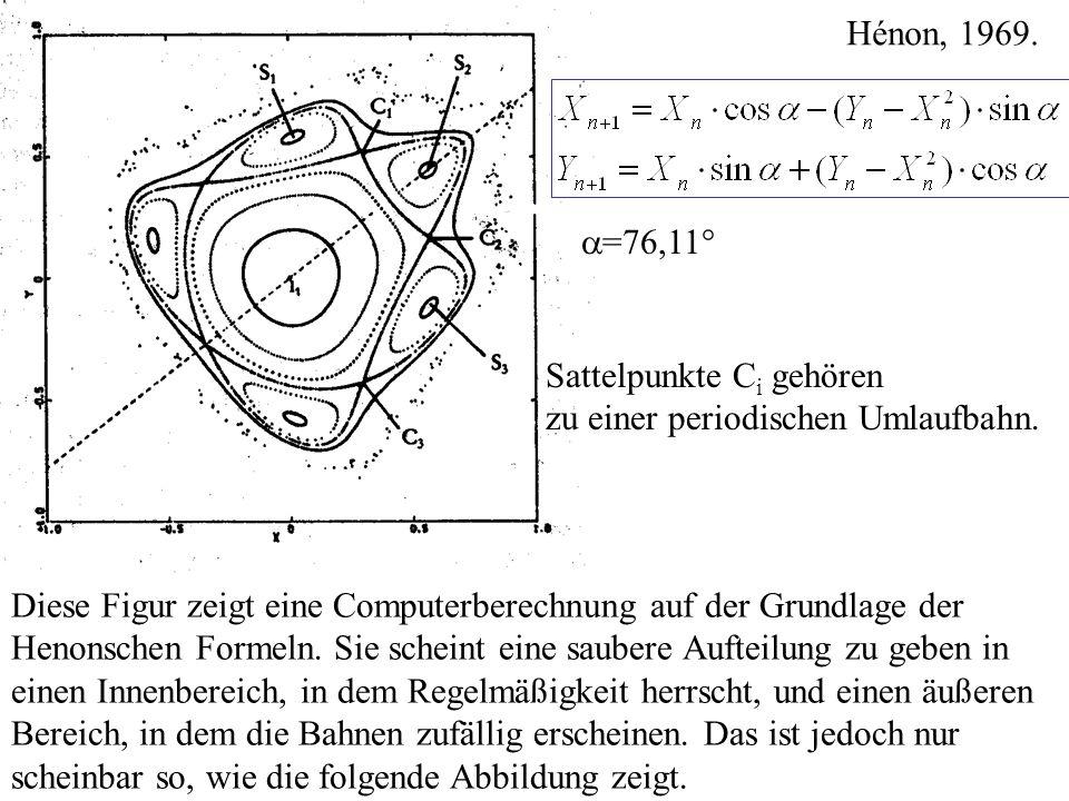 Diese Figur zeigt eine Computerberechnung auf der Grundlage der Henonschen Formeln. Sie scheint eine saubere Aufteilung zu geben in einen Innenbereich