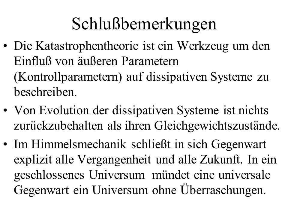 Schlußbemerkungen Die Katastrophentheorie ist ein Werkzeug um den Einfluß von äußeren Parametern (Kontrollparametern) auf dissipativen Systeme zu besc
