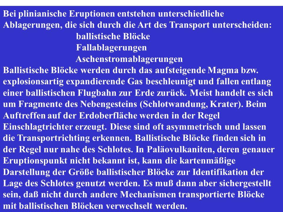 Bei plinianische Eruptionen entstehen unterschiedliche Ablagerungen, die sich durch die Art des Transport unterscheiden: ballistische Blöcke Fallablagerungen Aschenstromablagerungen Ballistische Blöcke werden durch das aufsteigende Magma bzw.