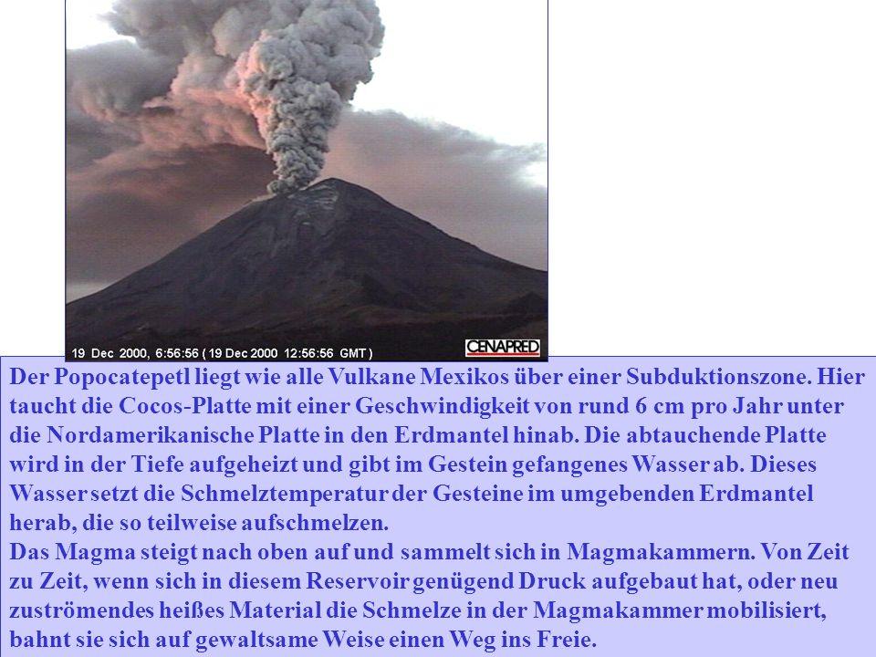Der Popocatepetl liegt wie alle Vulkane Mexikos über einer Subduktionszone.