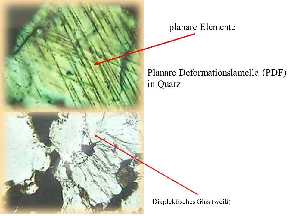 Diaplektisches Glas (weiß) planare Elemente Planare Deformationslamelle (PDF) in Quarz