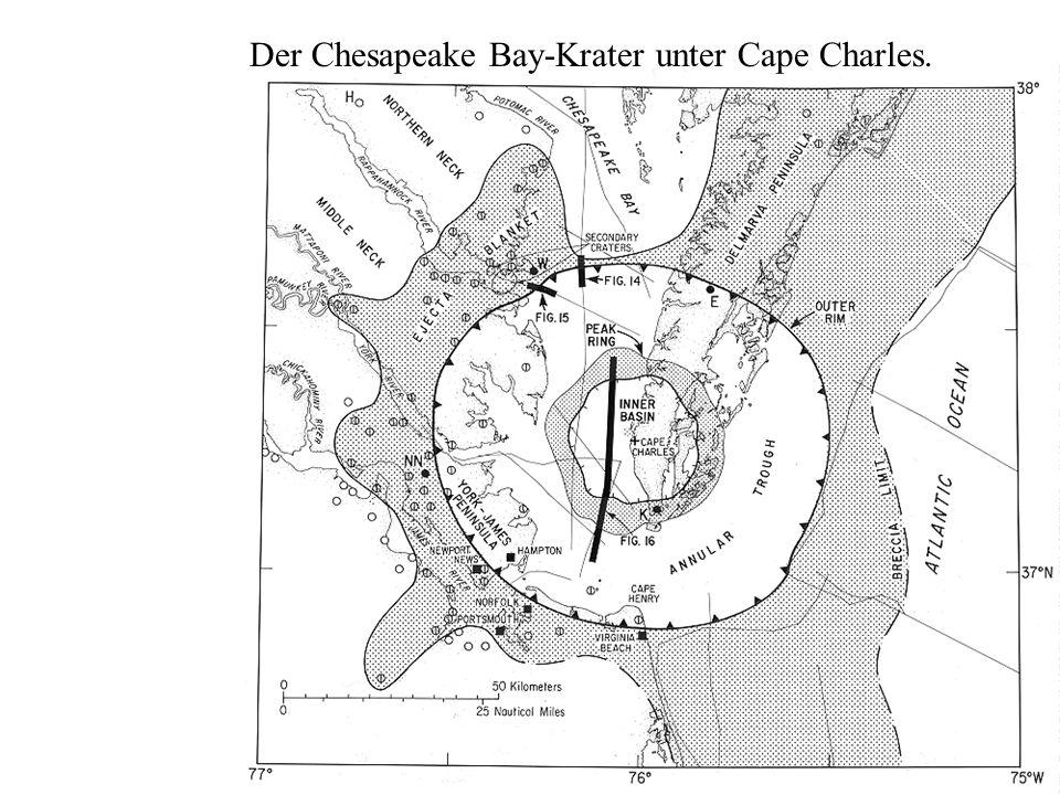 Der Chesapeake Bay-Krater unter Cape Charles.