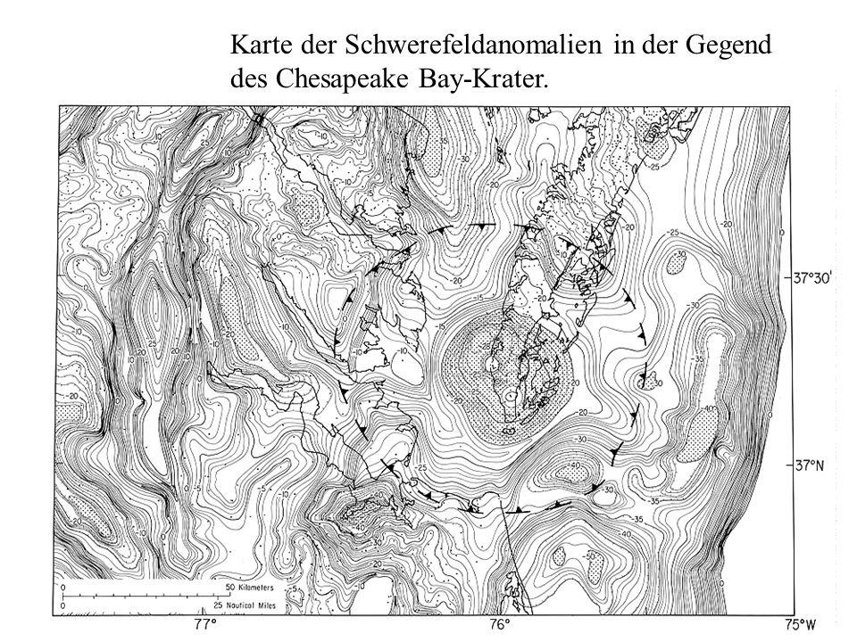 Karte der Schwerefeldanomalien in der Gegend des Chesapeake Bay-Krater.