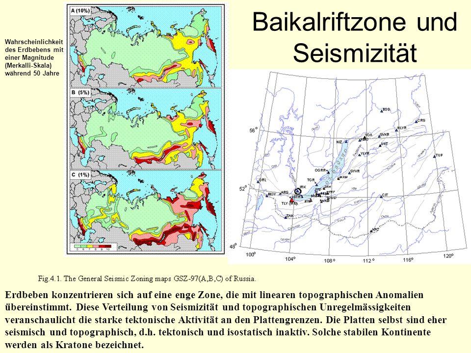 Baikalriftzone und Seismizität Erdbeben konzentrieren sich auf eine enge Zone, die mit linearen topographischen Anomalien übereinstimmt. Diese Verteil