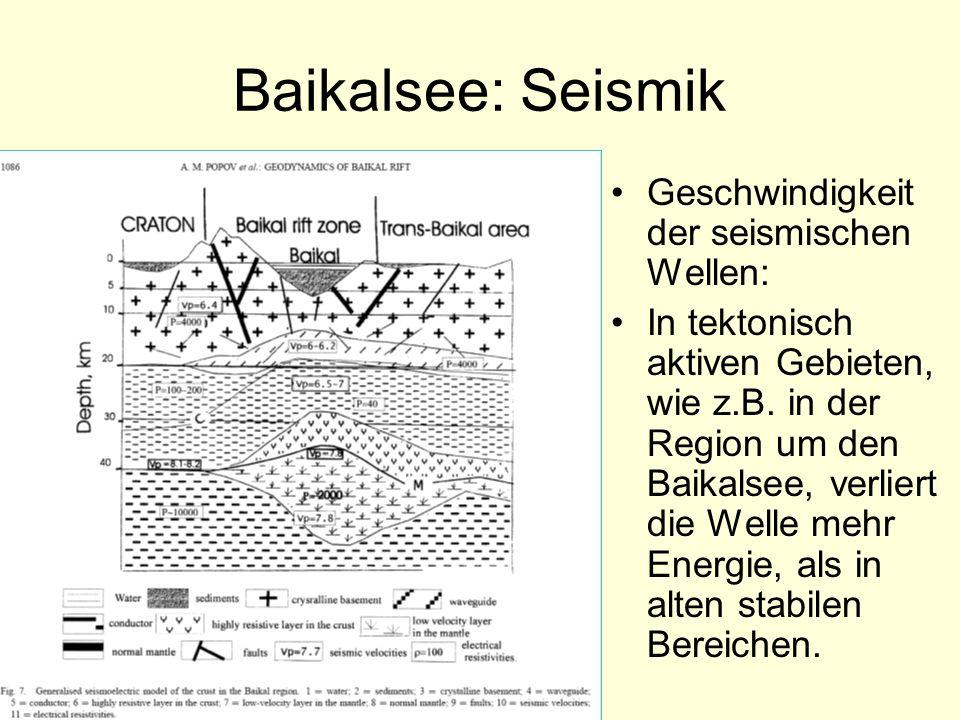 Baikalsee: Seismik Geschwindigkeit der seismischen Wellen: In tektonisch aktiven Gebieten, wie z.B. in der Region um den Baikalsee, verliert die Welle