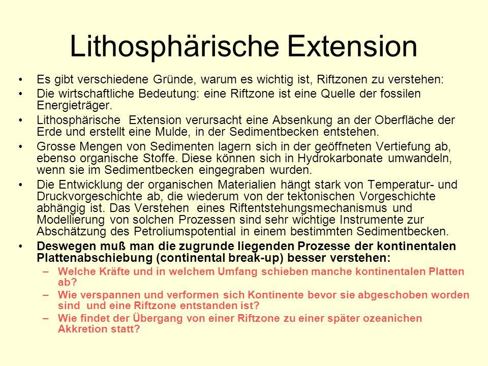 Lithosphärische Extension Es gibt verschiedene Gründe, warum es wichtig ist, Riftzonen zu verstehen: Die wirtschaftliche Bedeutung: eine Riftzone ist