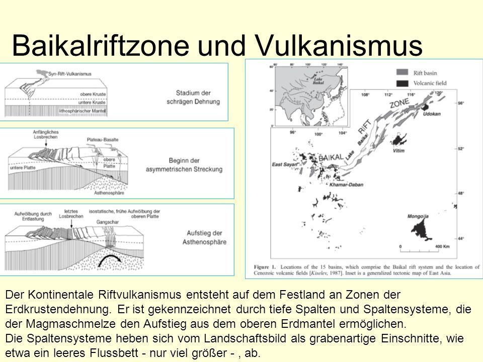 Baikalriftzone und Vulkanismus Der Kontinentale Riftvulkanismus entsteht auf dem Festland an Zonen der Erdkrustendehnung. Er ist gekennzeichnet durch
