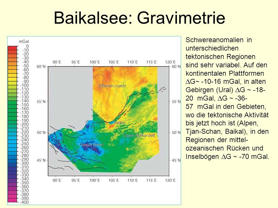 Baikalsee: Gravimetrie Schwereanomalien in unterschiedlichen tektonischen Regionen sind sehr variabel. Auf den kontinentalen Plattformen G~ -10-16 mGa
