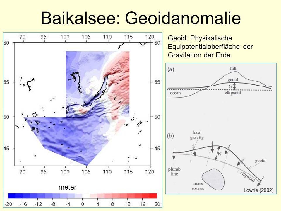 Baikalsee: Geoidanomalie Geoid: Physikalische Equipotentialoberfläche der Gravitation der Erde. meter