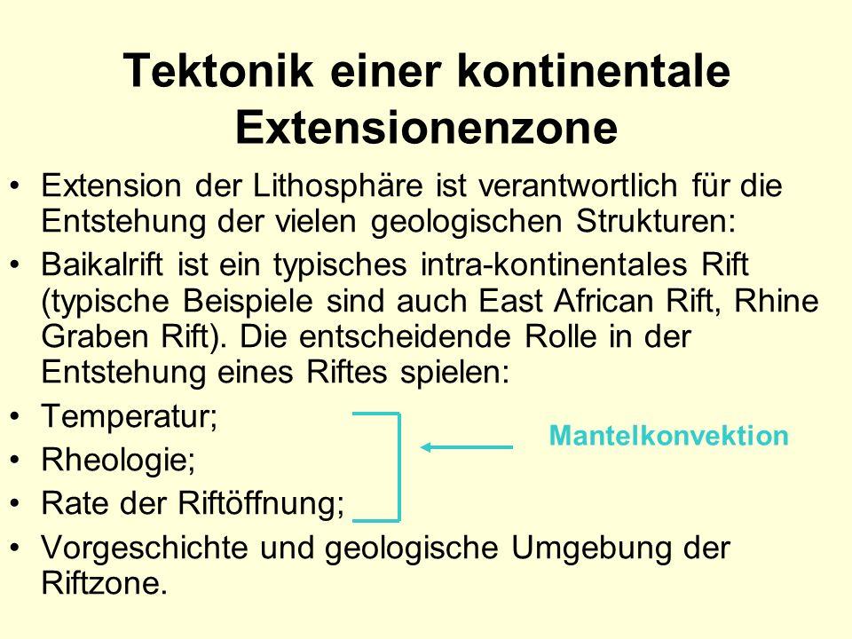 Tektonik einer kontinentale Extensionenzone Extension der Lithosphäre ist verantwortlich für die Entstehung der vielen geologischen Strukturen: Baikal