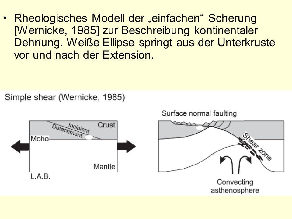 Rheologisches Modell der einfachen Scherung [Wernicke, 1985] zur Beschreibung kontinentaler Dehnung. Weiße Ellipse springt aus der Unterkruste vor und