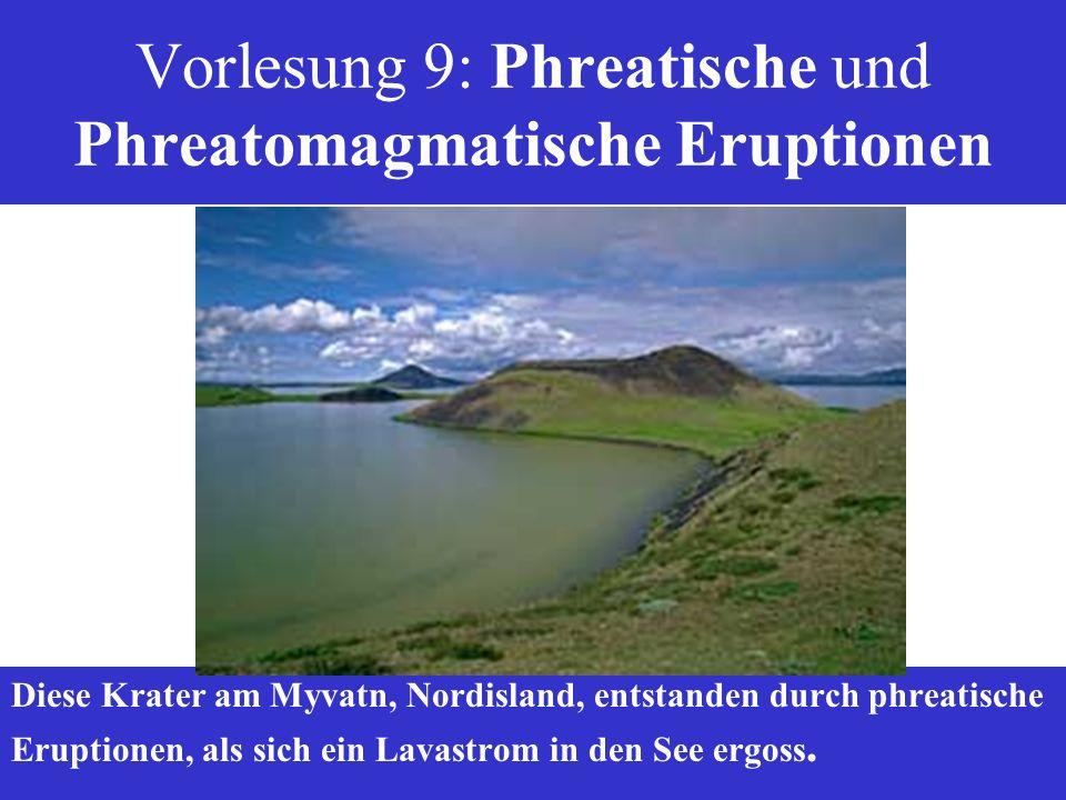 Vorlesung 9: Phreatische und Phreatomagmatische Eruptionen Diese Krater am Myvatn, Nordisland, entstanden durch phreatische Eruptionen, als sich ein L