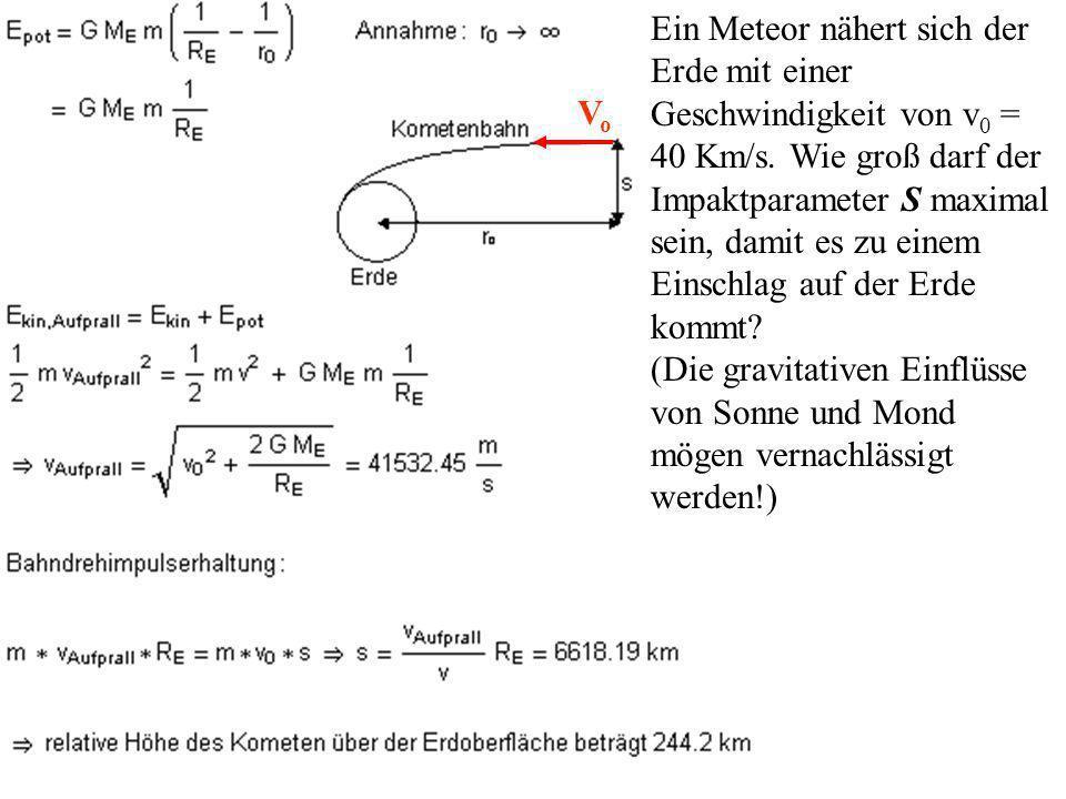 Ein Meteor nähert sich der Erde mit einer Geschwindigkeit von v 0 = 40 Km/s.