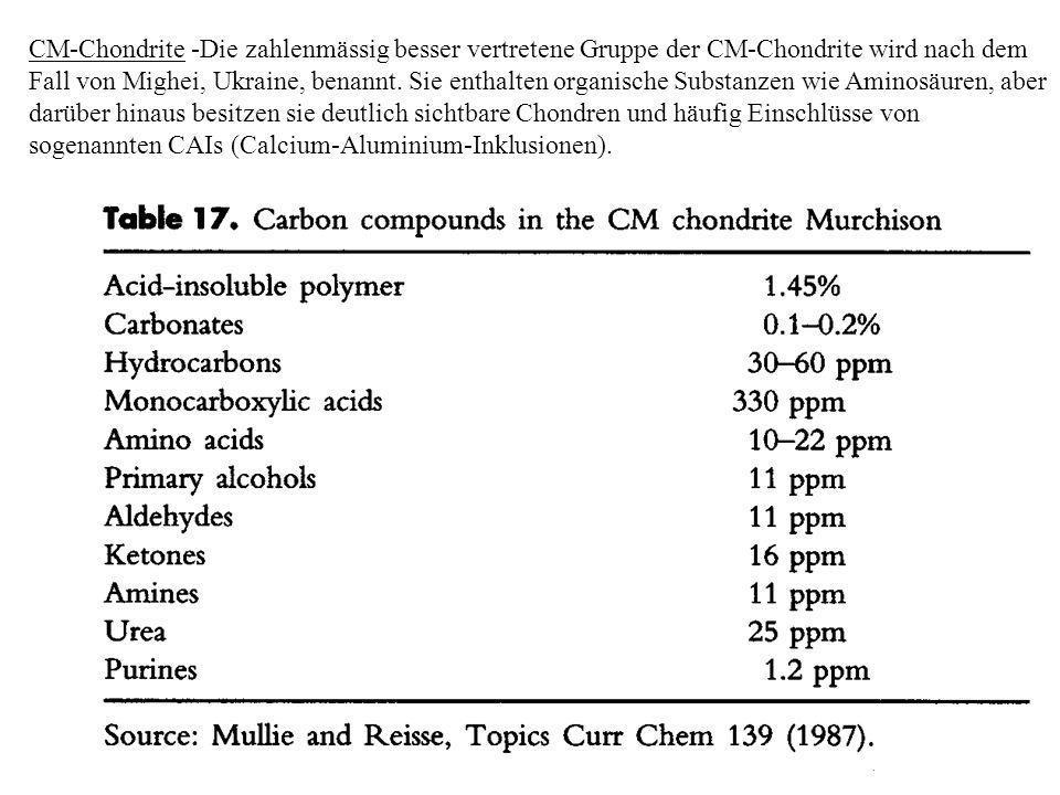 CM-Chondrite -Die zahlenmässig besser vertretene Gruppe der CM-Chondrite wird nach dem Fall von Mighei, Ukraine, benannt. Sie enthalten organische Sub