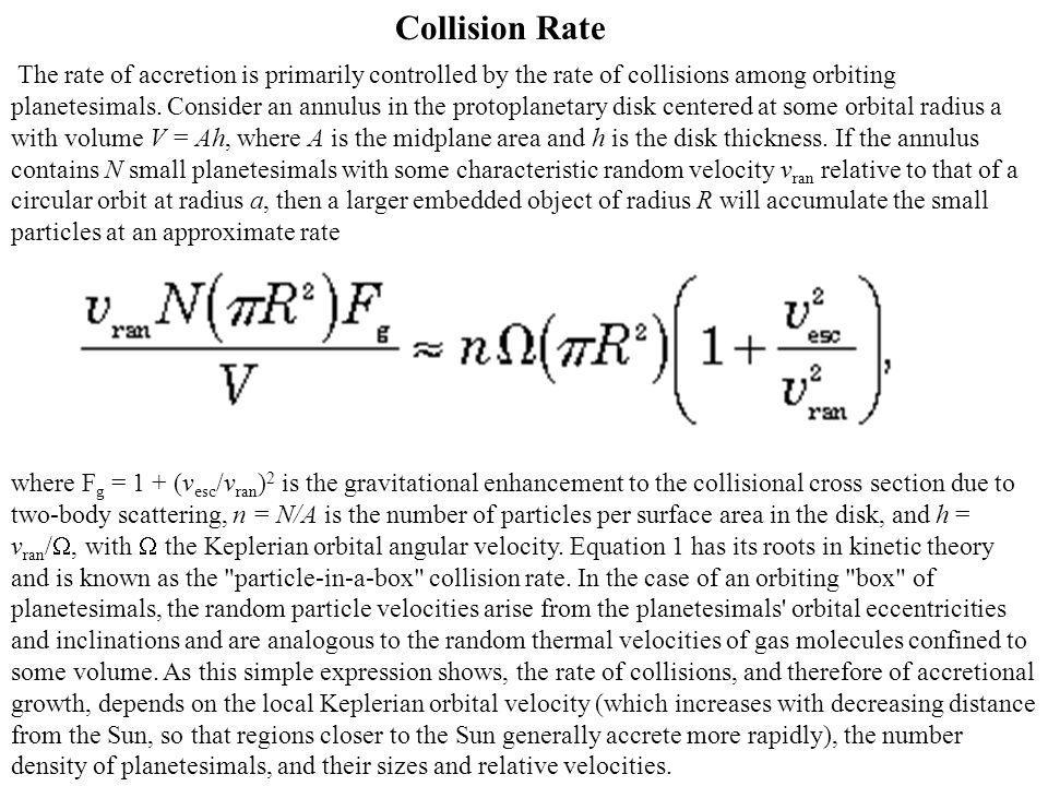 where F g = 1 + (v esc /v ran ) 2 is the gravitational enhancement to the collisional cross section due to two-body scattering, n = N/A is the number