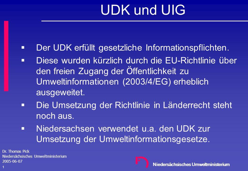Niedersächsisches Umweltministerium Workshop Umweltdatenbanken 2005 Hannover 07. Juni 2005 Der UDK-WebEditor – ein internetbasiertes Pflegewerkzeug fü