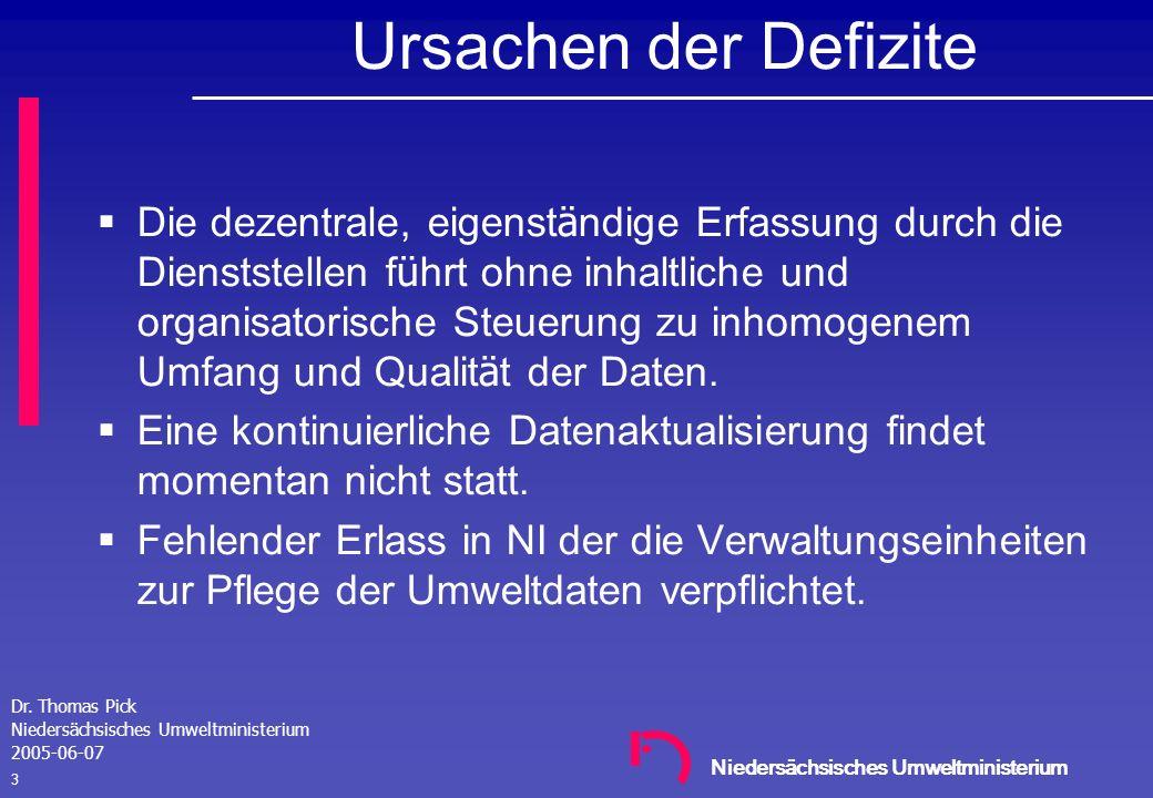 Niedersächsisches Umweltministerium Dr. Thomas Pick Niedersächsisches Umweltministerium 2005-06-07 2 Defizite der UDK-Datenpflege in NI Inhomogene hie