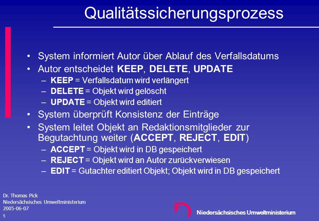 Niedersächsisches Umweltministerium Dr. Thomas Pick Niedersächsisches Umweltministerium 2005-06-07 4 Lösungsansätze im Pilotprozess MU - NI Daten werd