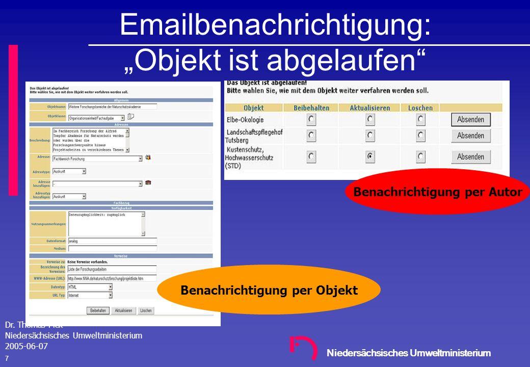 Niedersächsisches Umweltministerium Dr. Thomas Pick Niedersächsisches Umweltministerium 2005-06-07 6 Update Record / QA Process