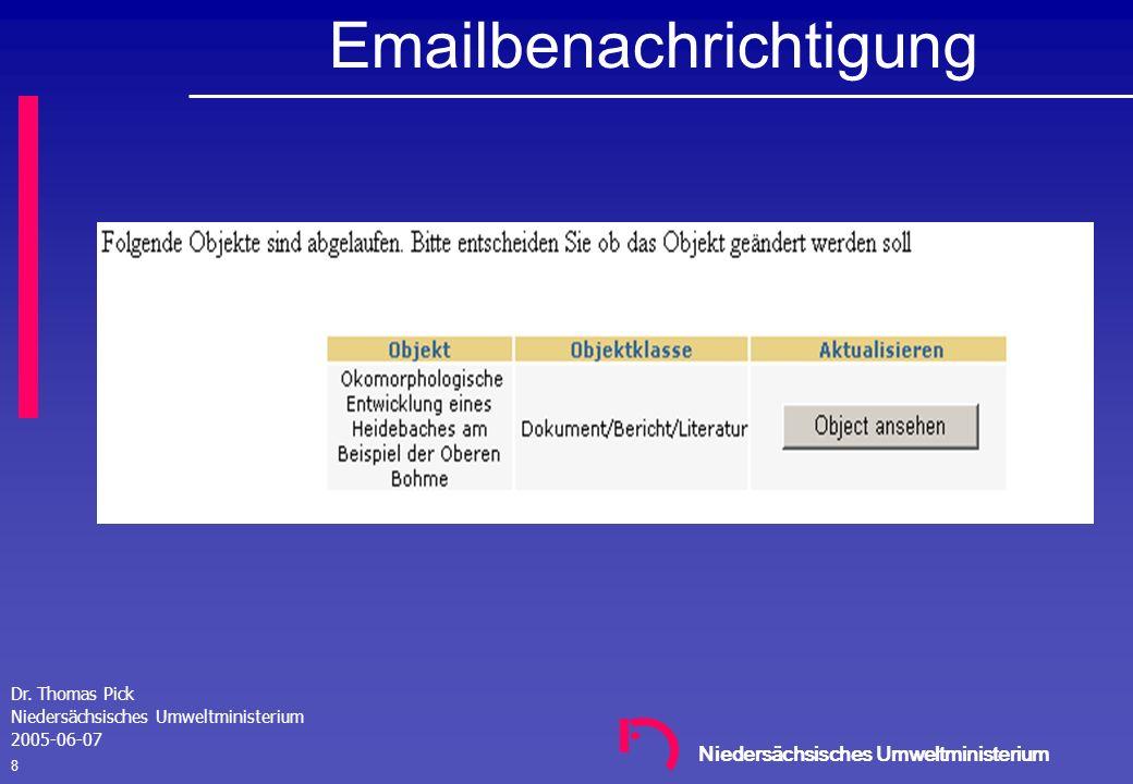 Niedersächsisches Umweltministerium Dr. Thomas Pick Niedersächsisches Umweltministerium 2005-06-07 7 Emailbenachrichtigung: Objekt ist abgelaufen Bena